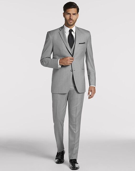 Men's Wearhouse Pronto Uomo Gray Notch Lapel Suit Gray Tuxedo