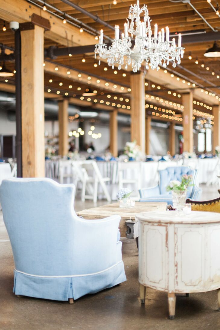 The couple chose this venue for all of it's shabby chic styled decor. The room was filled with vintage furniture, gorgeous chandeliers and velvet couches. Across the entire ceiling hung small string lights which added to the rustic atmosphere.
