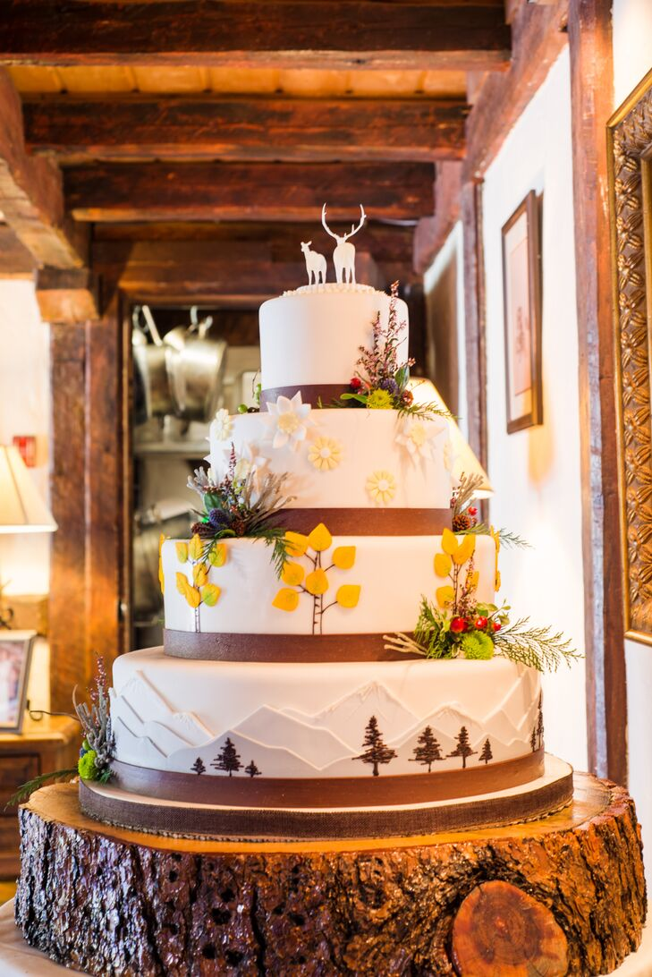 """The wedding cake was designed by the Keystone Resort baker, Ned, who was a blast to meet with and really made a beautiful cake that accented our cake toppers,"" Sasha says."