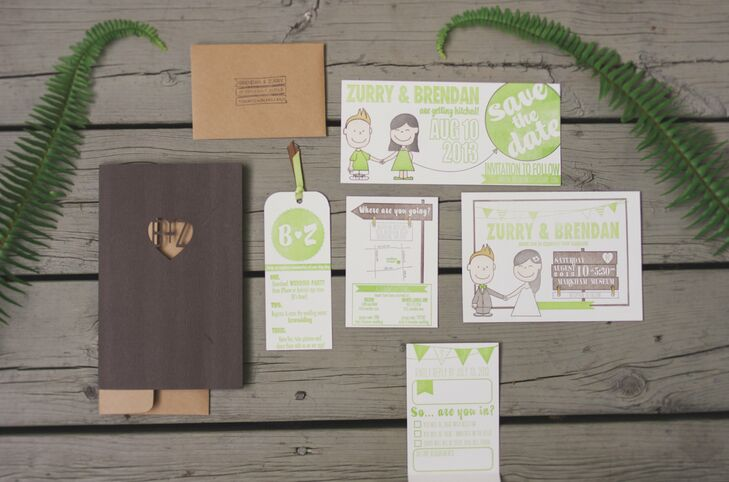 The couple's playful letterpress invitations were designed and handprinted by the bride.