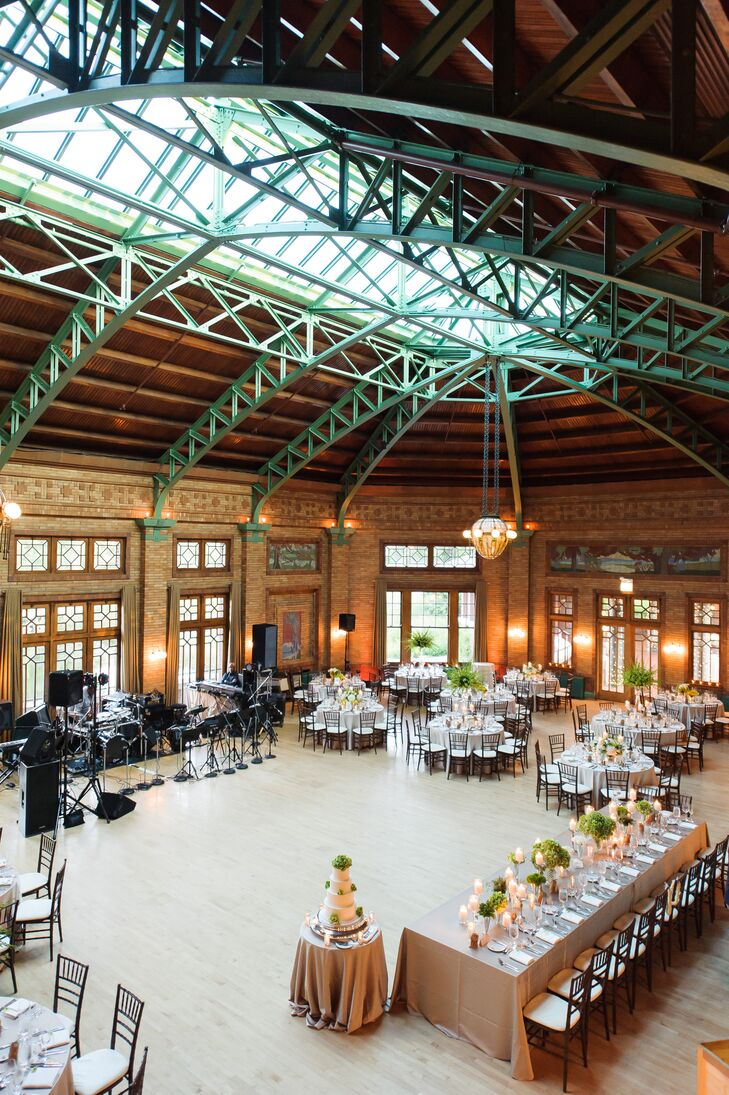 "The newlyweds celebrated with 180 guests at the expansive Cafe Brauer in Lincoln Park. ""We loved that it perfectly combined the elegance of the city with the surrounding nature,"" Christine says. ""It was an incredible venue and truly breathtaking."""