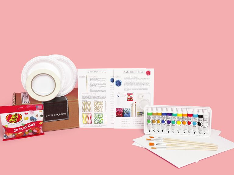 DateBox Club delivery contents with painting materials and jellybeans