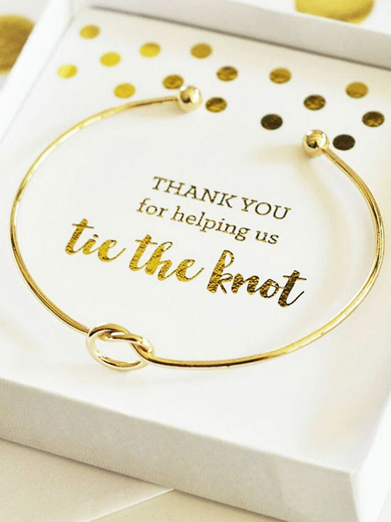tie the knot gold bracelet & 60 Bridesmaid Gift Ideas