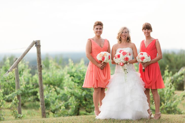 Coral Knee-Length Bridesmaid Dresses