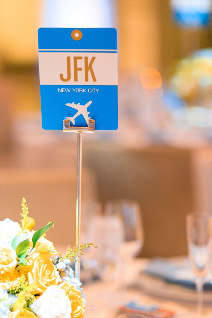 Modern Blue and Gold Airport-Inspired Table Names