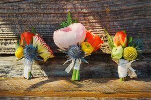 Bright, Boho Boutonnieres with Blue Thistle and Craspedia