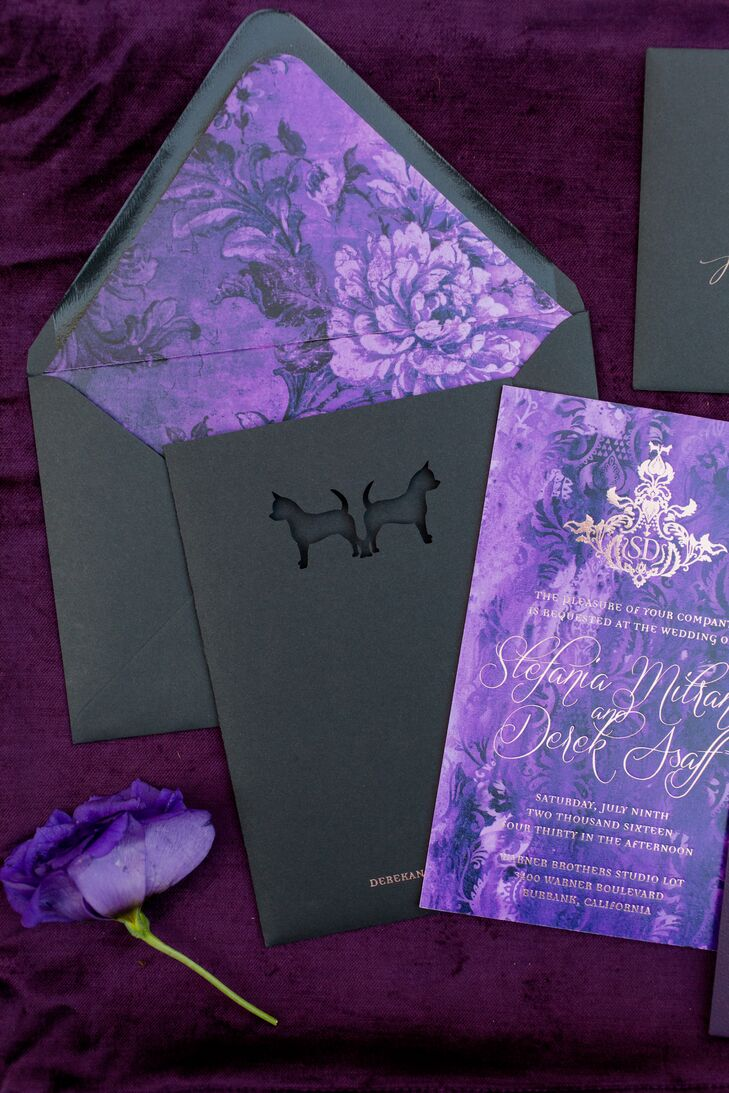 The dramatic purple invitation suite was foil stamped in rose gold and designed with a subtle Chihuahua silhouette that also invoked the bat symbol.