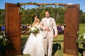 Rustic Outdoor Ceremony with Vintage Door Entrance