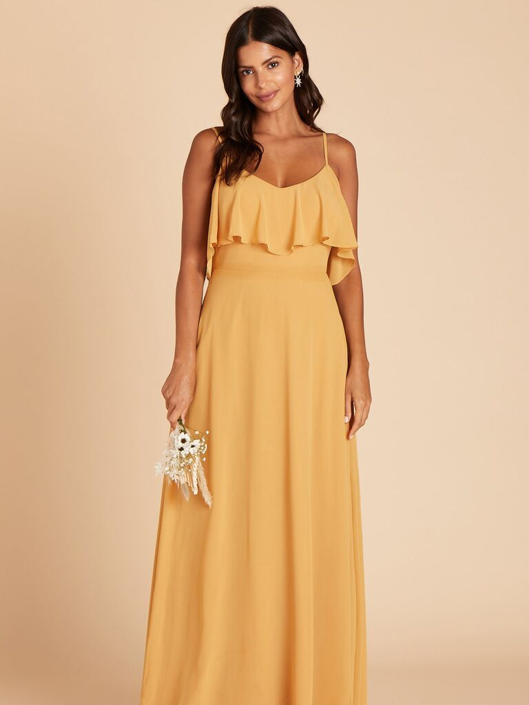 Ruffled yellow bridesmaid dress under $100