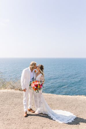 Casual, Bohemian Bride and Groom in All White
