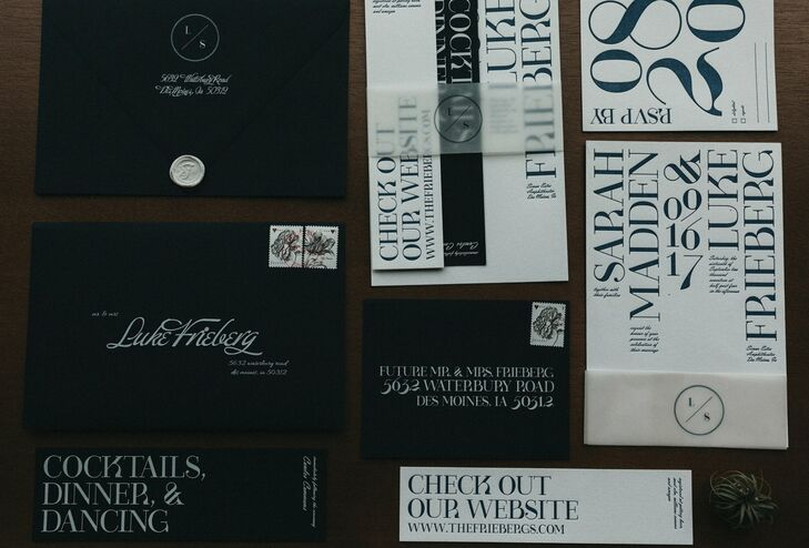 Modern Black and White Typography Invitations