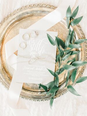 Gold Foil Vow Renewal Invitation with Wedding Rings