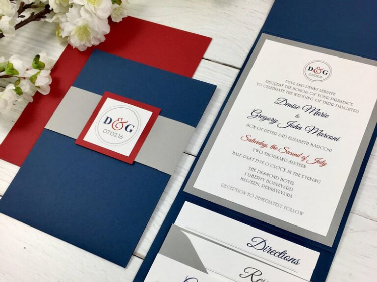 Red, white and blue invitation for summer wedding