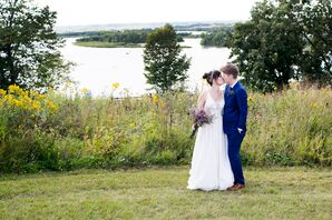 Brides in Midnight Blue Navy Suit and Ivory Gown