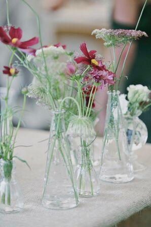 Burgundy Wildflower Centerpieces