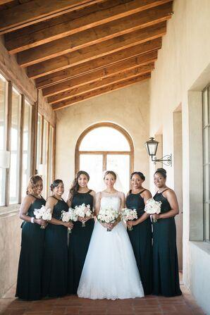 Black Long Bateau Neckline Bridesmaid Dresses