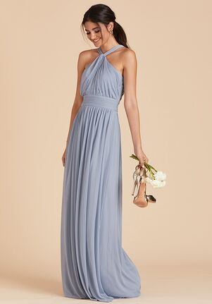 Birdy Grey Kiko Mesh Dress in Dusty Blue Halter Bridesmaid Dress