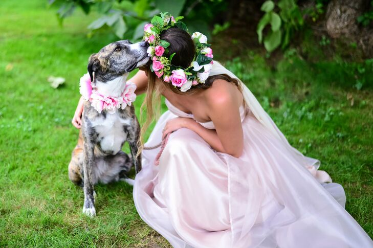 Brianna wanted a statement flower crown that was also comfortable to wear. The florist mixed real soft pink spray roses and greens with larger silk roses to ensure it wasn't too heavy for a full day of wear.
