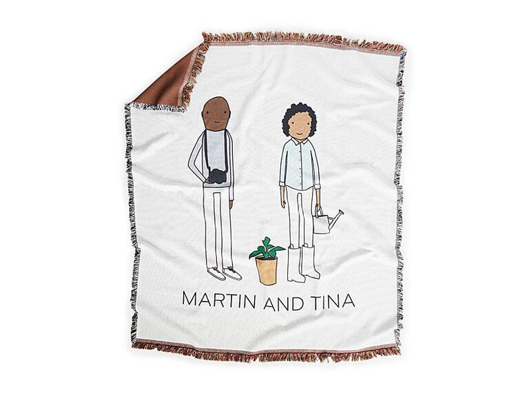 Custom throw blanket cute engagement gift