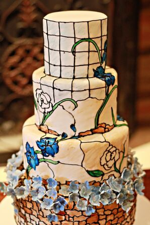Hand Painted Tiered Wedding Cake