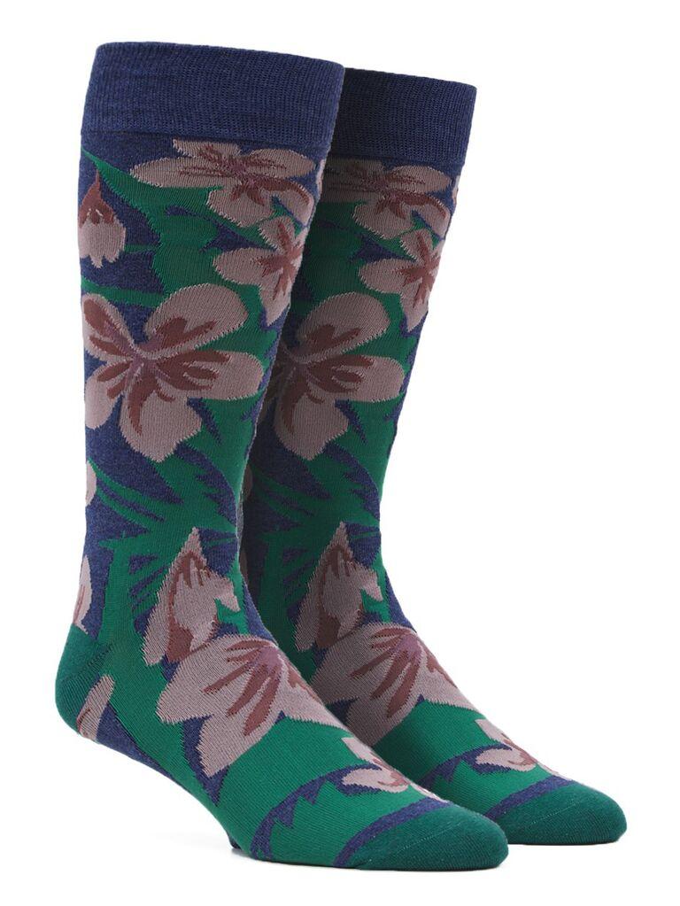 Tropical flower groomsmen socks