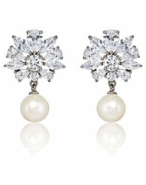 Thomas Laine Grace Floral Freshwater Pearl Drop Earrings Wedding Earring photo
