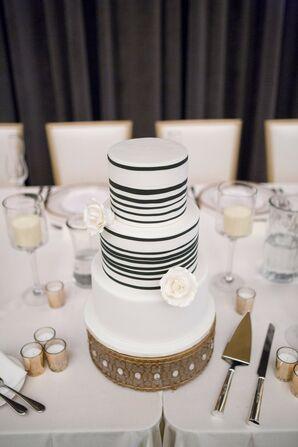 Modern Striped Wedding Cake on Jeweled Cake Stand