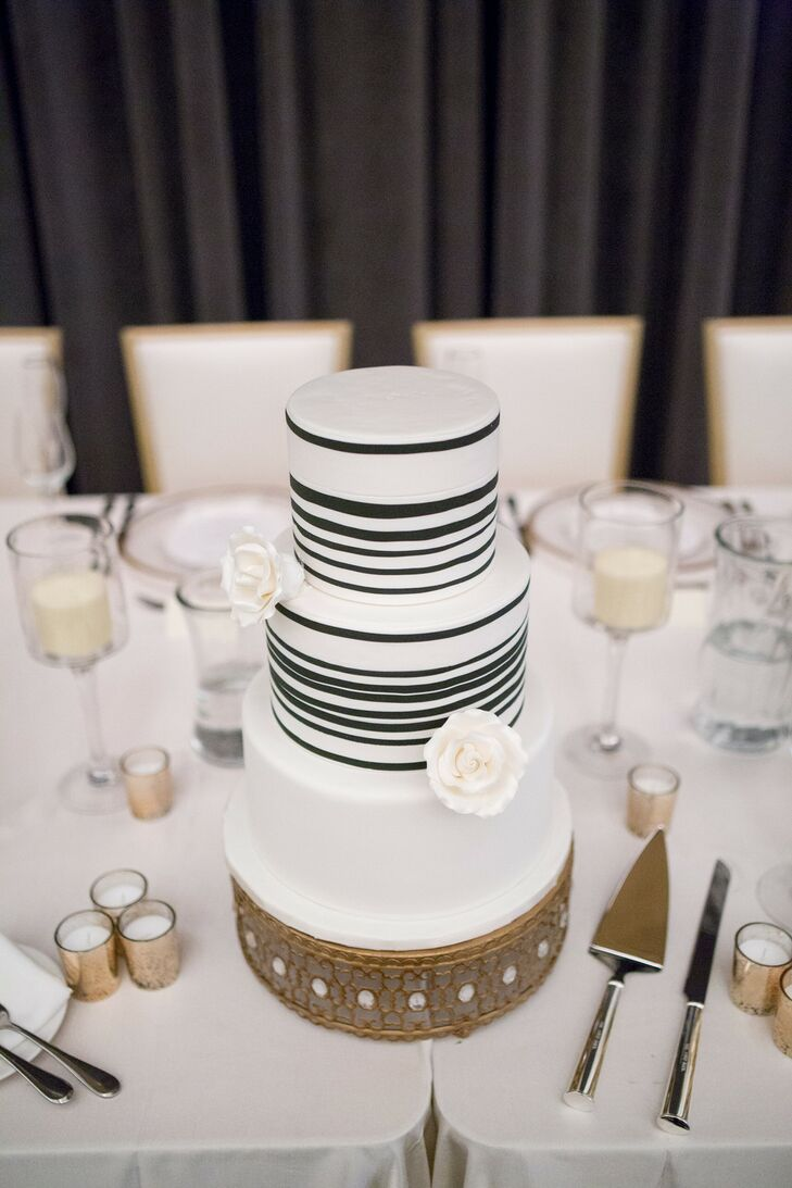 Modern Striped Wedding Cake on Jeweled Cake Stand