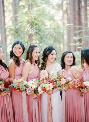 Romantic Bridesmaids in Pink with Ribbon Bouquet Wraps