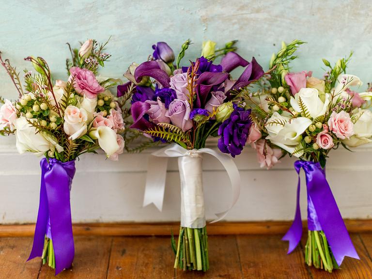 bright purple bouquet wraps