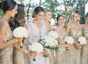 Bridesmaids in Glam Gold Dresses Holding White Bouquets