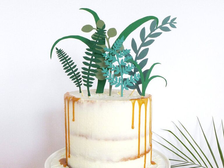 Tropical greenery wedding cake topper