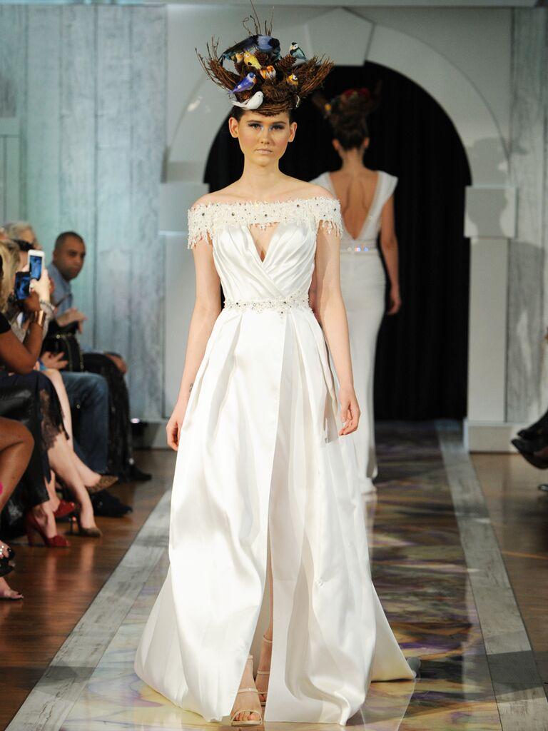 Dany Mizrachi Fall 2019 off-the-shoulder keyhole wedding dress