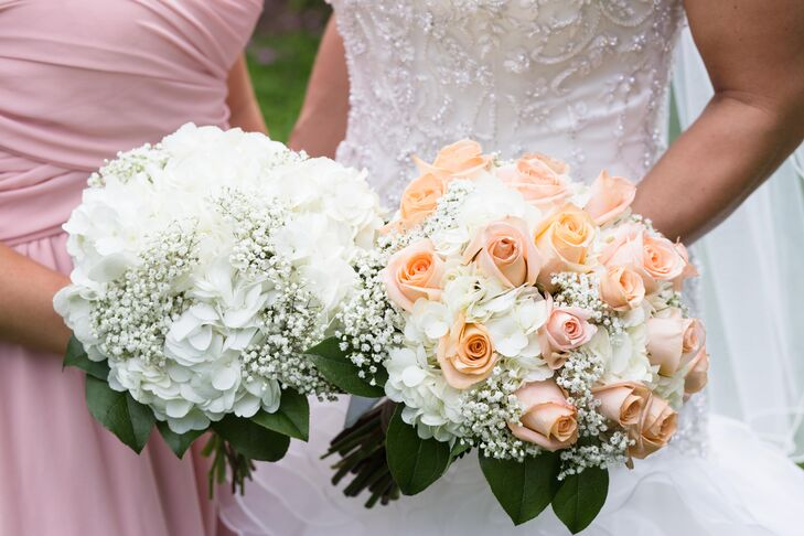 The wedding-day florist, Flowers, Petals and Gifts, created all the flower arrangements, using mostly white hydrangeas and some peach roses. Mandy carried a bouquet of peach roses, white hydrangeas and baby's breath while her maid of honor carried a bouquet of white hydrangeas and baby's breath.