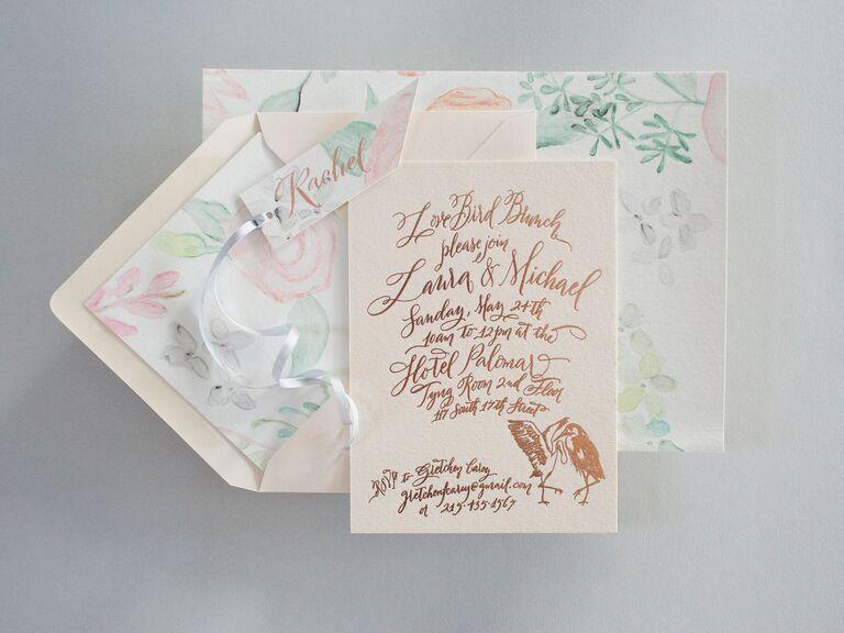 Light pink custom calligraphy wedding invitations