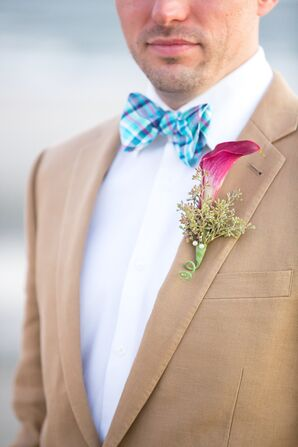 Colorful Bow Tie with Purple Calla Lilly Boutonniere