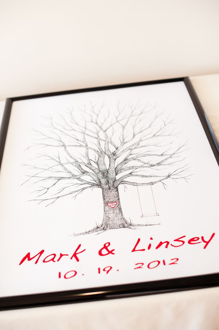 Red Accent Tree Thumbprint Guestbook