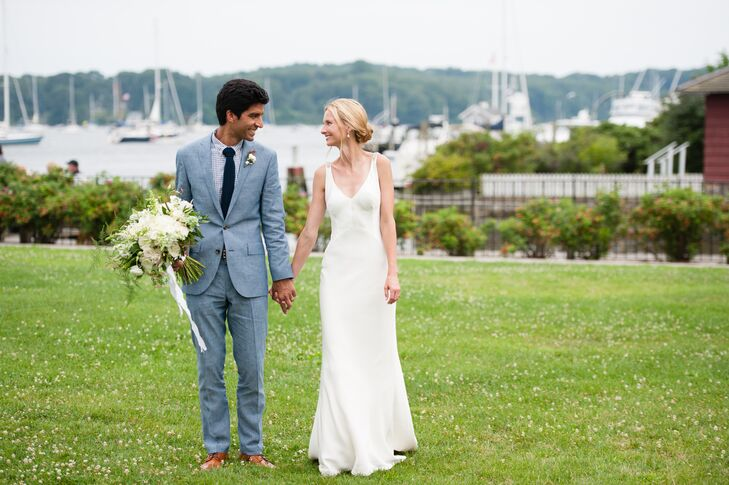 Classic Bride and Groom on a New England Waterfront