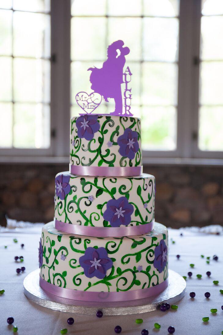 Three Tier Purple And Green Wedding Cake