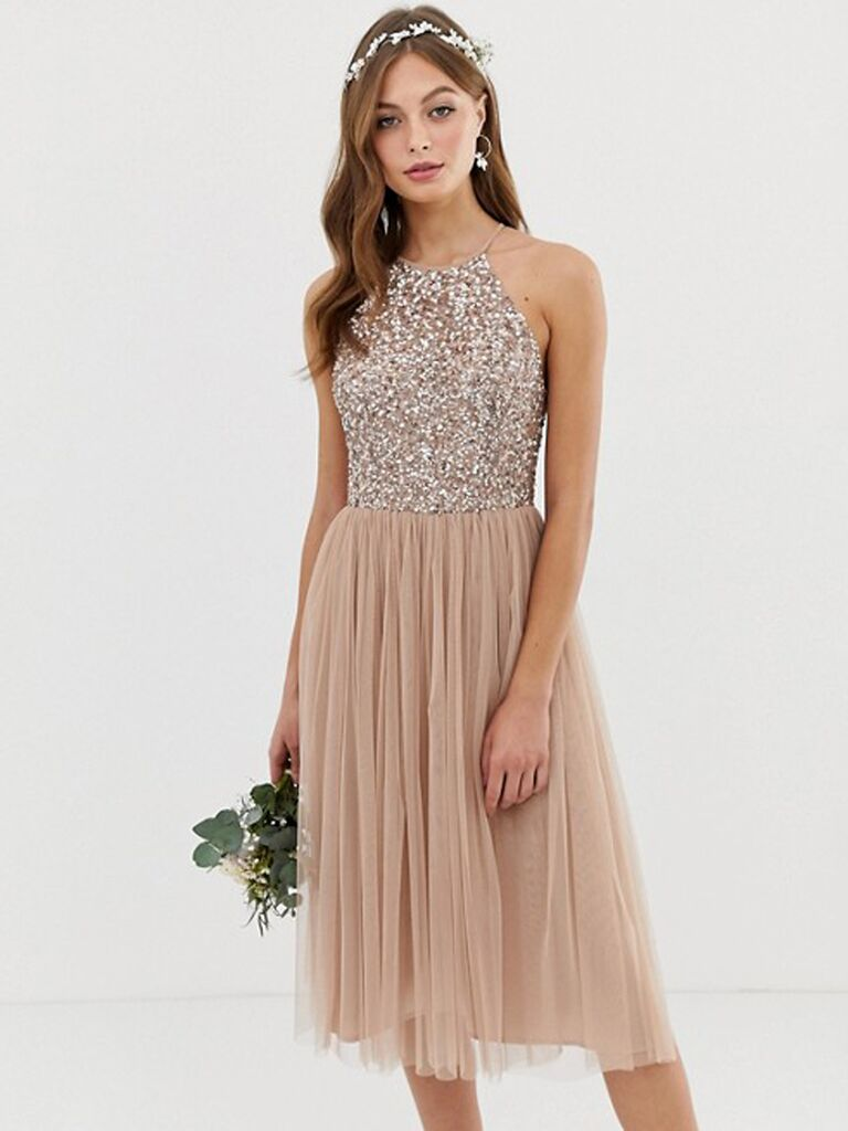 Short gold bridesmaid dress under $100