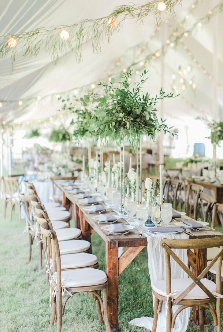 Natural Tented Reception with Wood Tables and Cross-back Chairs
