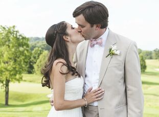 A soft palette of peach, blush pink, ivory and gray lent itself well to this couple's romantic Southern garden party.