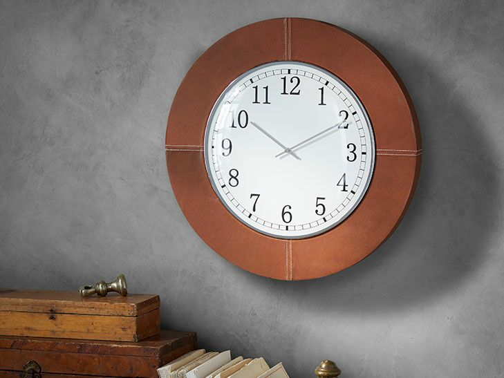 Pottery Barn Leather Wall Clock, $199, PotteryBarn.com