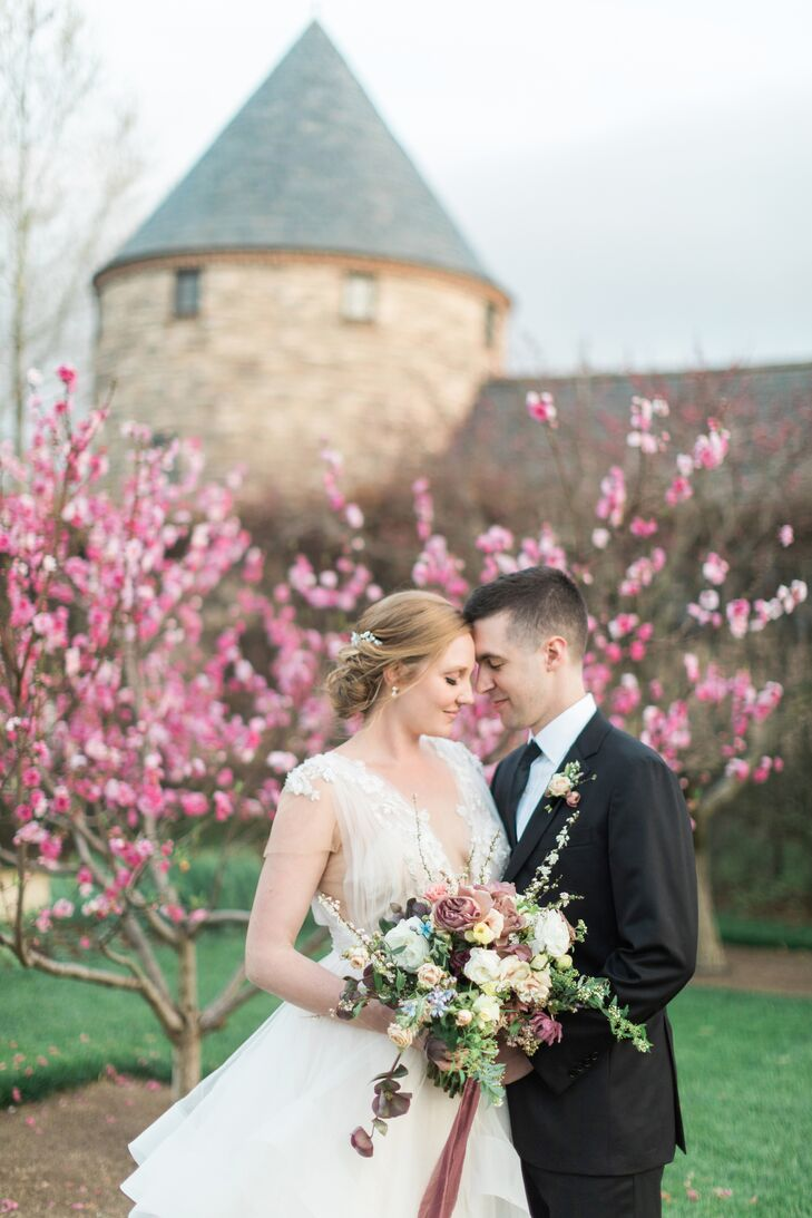 Romantic Cascading Bouquet With Velvet Ribbon
