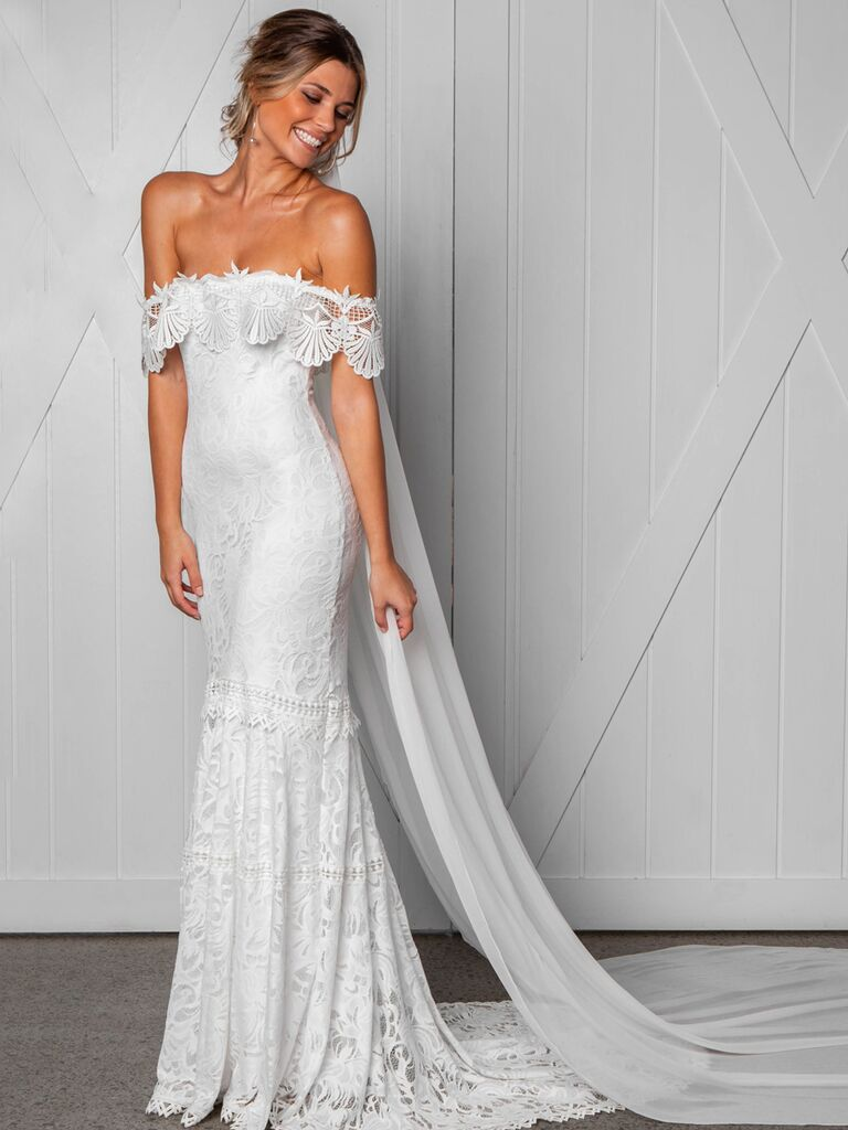 Grace Loves Lace Fall 2019 Bridal Collection off the shoulder fitted wedding dress with allover lace and scalloped neckline