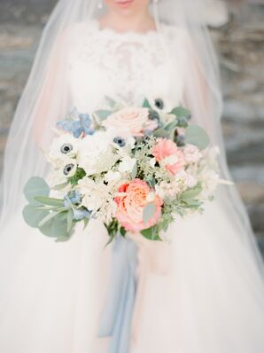 Romantic Rose, Anemone, Gerbera Daisy and Eucalyptus Bouquet