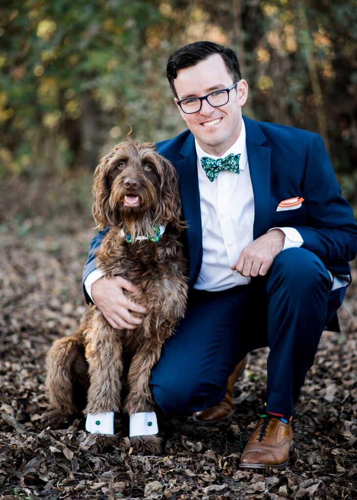 "Jogee and Joey couldn't imagine getting married without their ""best furry friend,"" Chewbacca, at the celebration. They bought him cuff links and a bow tie and had him walk down the aisle too."