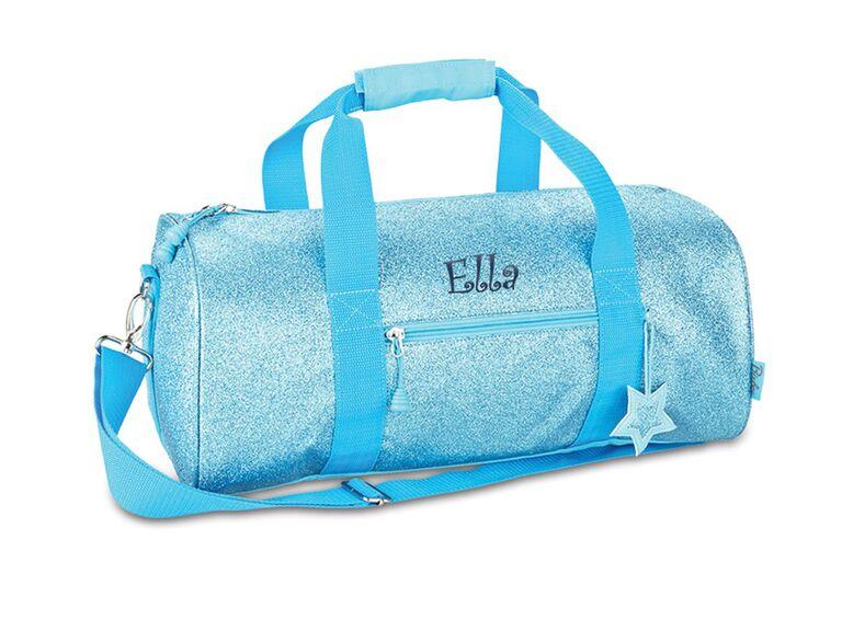blue sparkly duffel bag