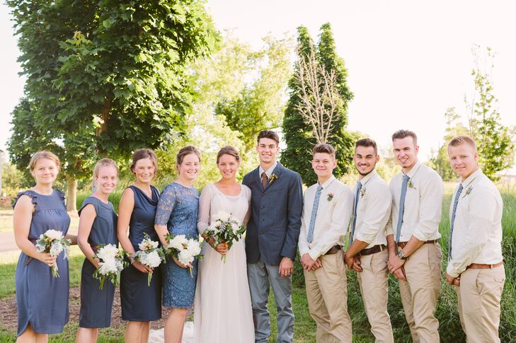Blue-Accented Wedding Party Attire