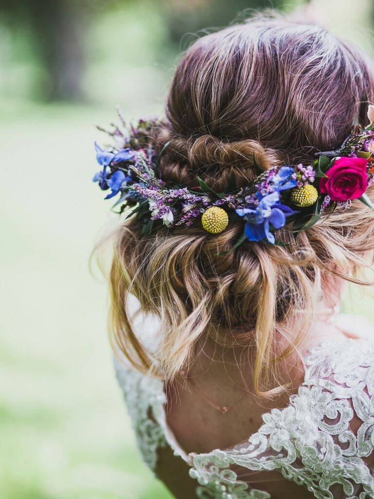 Loose updo with flower crown